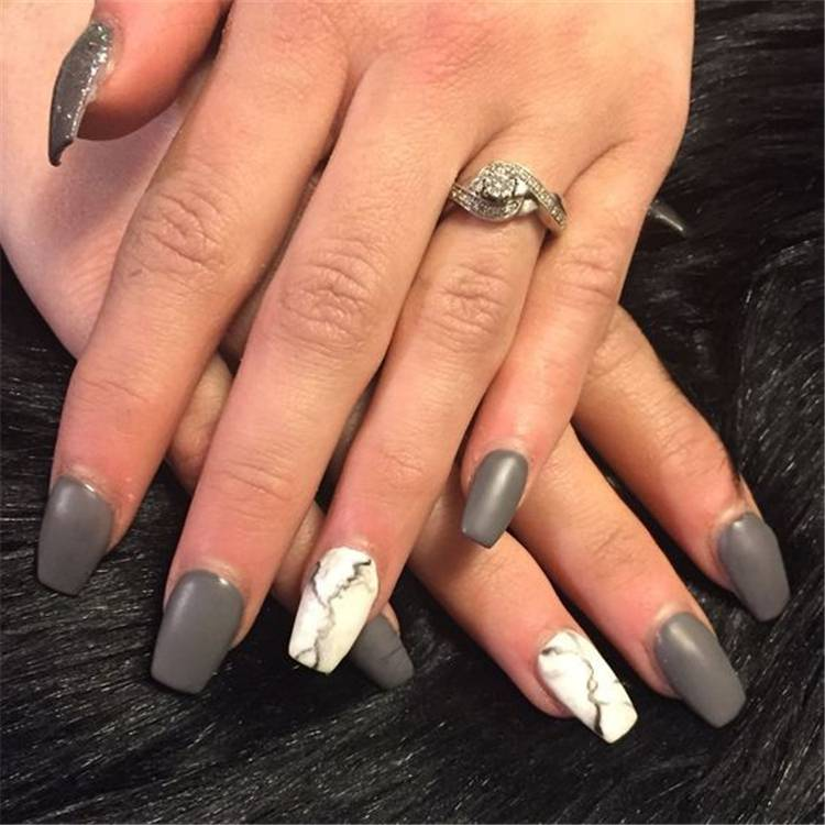 Stylish Marble Square Nail Art Designs You Would Love To Try; Marble Nail; Marble Square Nail; Square Nail; Stylish Marble Square Nail; Marble Nail Art; #nailart #marblenail #marblenaildesign #squarenail #squarenaildesign #naildesign #nail