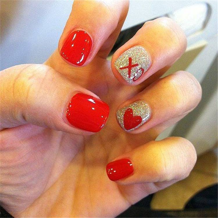 Valentine's Day nails; Red nail art designs; Romantic heart shape nails; acrylic nails;Heart Shape Nails; #valentine #valentinenail #nails #naildesign #chicnails
