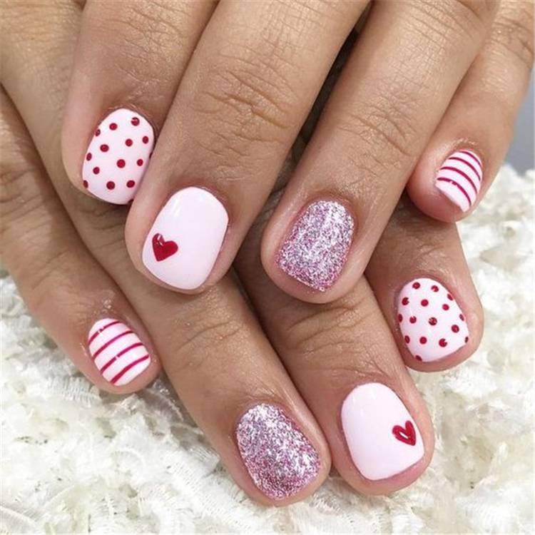 Valentine's Day nails; Red nail art designs; Romantic heart shape nails; acrylic nails;Heart Shape Nails;#valentine #valentinenail #nails #naildesign #chicnails