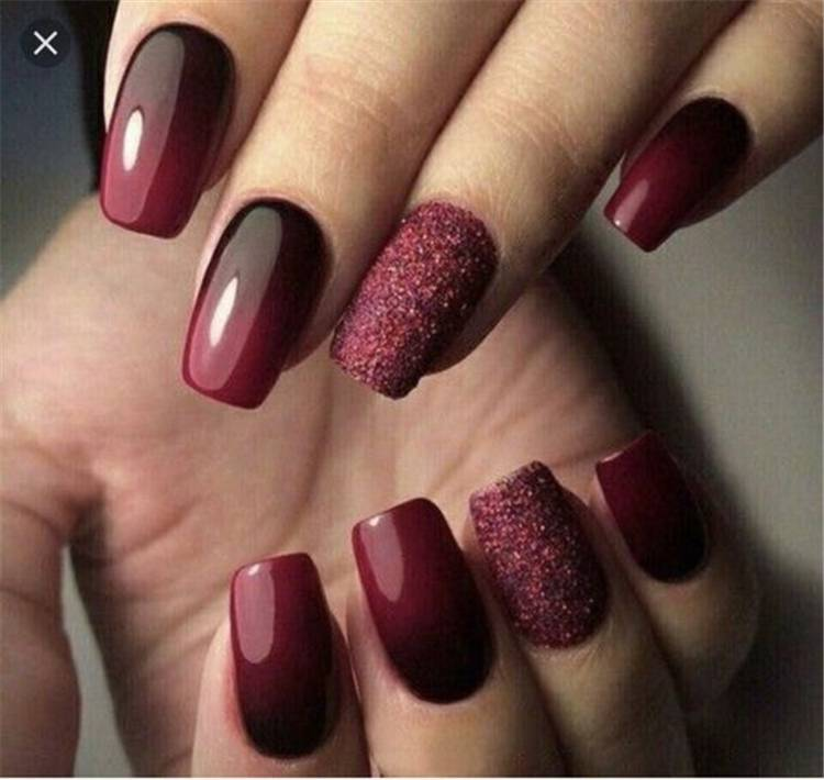 Gorgeous Burgundy Nail Color With Designs For The Coming Valentine's Day; Burgundy Nail; Burgundy Nail Color; Fall Burgundy Nails; Wine Red Stiletto Nails; Burgundy Wine Nail Color; Wine Red Acrylic Nails; Dark Burgundy Red Nail Polish; Valentine's Nail; Valentine's Day #valentinenail #valentine'sday #burgundynail #burgundycolornail #rednail #winerednails