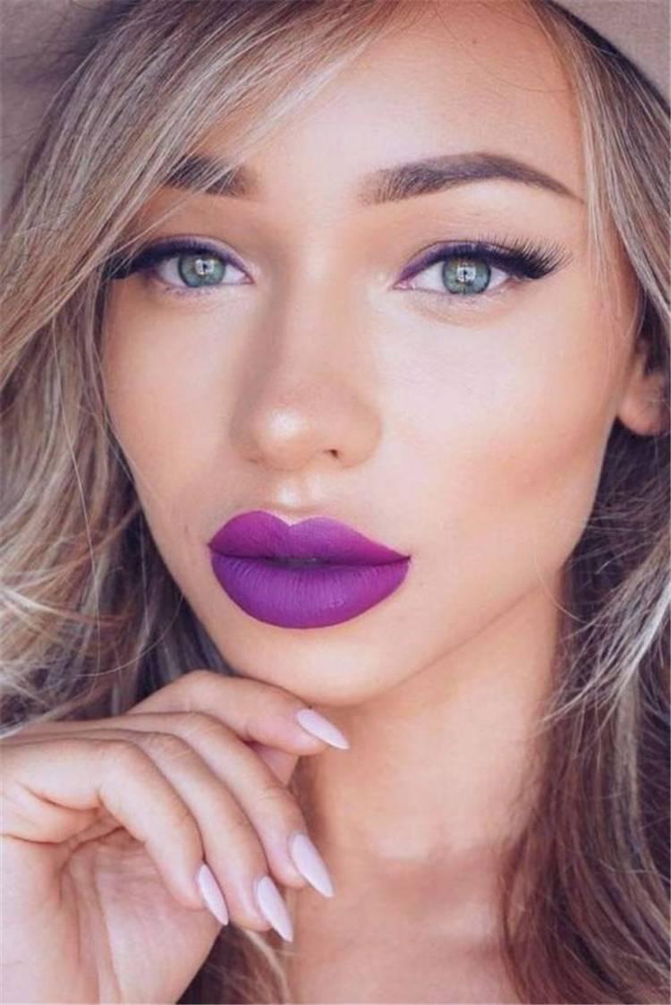 Stunning Purple Lipstick Makeup Ideas For You; Stunning Makeup Looks; Purple Lipstick; Purple Lips; Purple Lips Makeup; Purple Makup Looks; Stunning Purple Lipstick; #purplelipstick #purplelipstickmakeup #makeup #makeuplooks