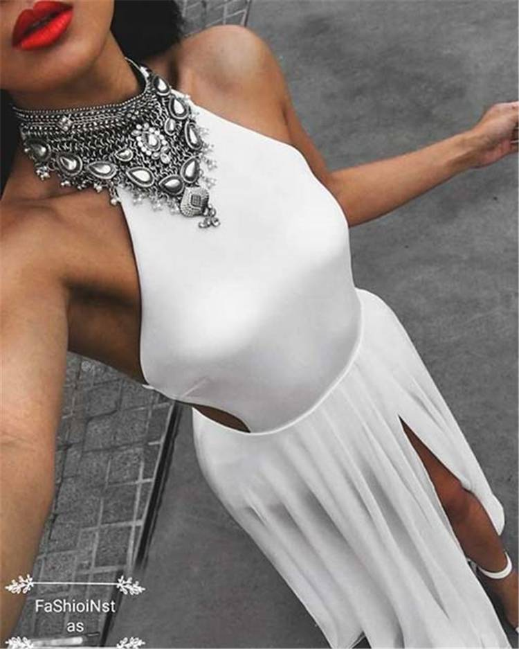 How To Pick Up A Gorgeous And Stunning White Party Outfits; Party Outfits; White Outfits; White Party Outfits; Outfits; Dress; One-piece Dress; White Dress; Party; #partyoutfits #outfits #whiteoutfits #whitepartyoutfits