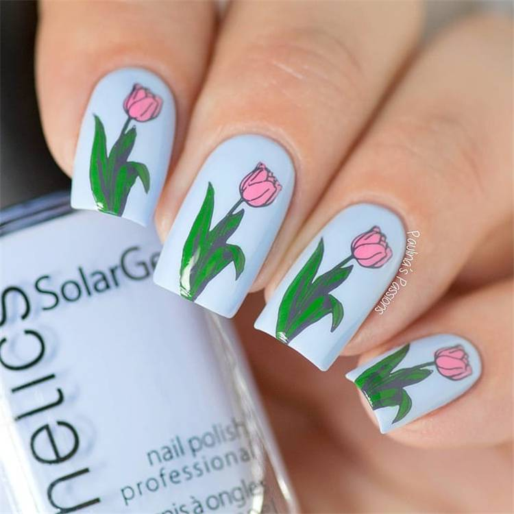 Lovely Floral Spring Nail Designs To Celebrate The Year's Best Season; Spring Nails; Lovely Nails; Nails; Square Nails; Nail Design; Flower Nails;#nails#springnail#flowernails#squarenail#naildesign