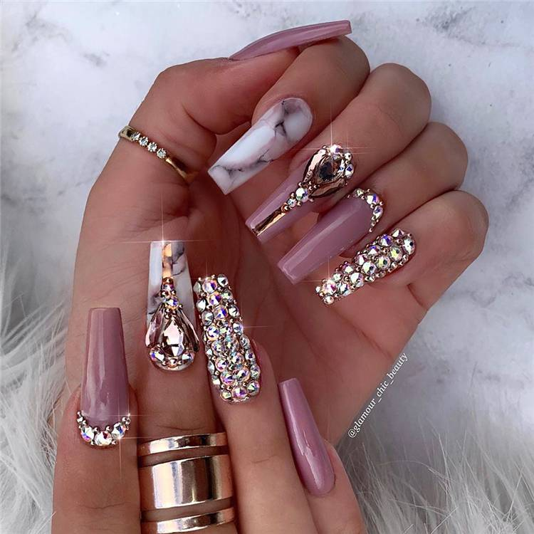 Stunning Long Coffin Nails With Rhinestones You Must Love; Coffin Nails; Long Coffin Nails; Rhinestone Nails; Nails With Rhinestones; Nails #nails #coffinnails #longcoffinnails #rhinestonenails