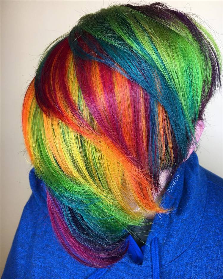 Stylish Rainbow Hair Styles You Need To Have; Rainbow Hair Color; Rainbow Hair Styles; Rainbow Color; Rainbow Hairstyle; Hair Color; Hairstyles #haircolor #hairstyles #rainbowhair #rainbowhairstyle #rainbowcolor #rainbowhaircolor