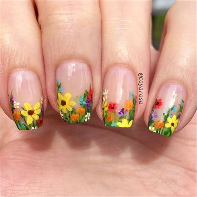 Gorgeous And Stunning Floral Nail Designs You Should Copy Right Now; Floral Nails; Lovely Nails; Nails; Square Nails; Nail Design; Flower Nails; Cherry Blossom Nails; Lily Nails; Sunflower Nails; Daisy Nails;#nails#springnail#flowernails#squarenail#naildesign #floralnails