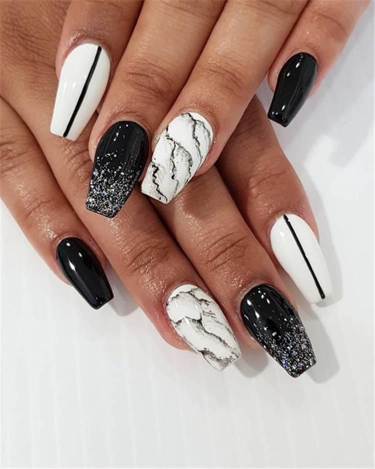 Stylish Black And White Nail Art Designs You Need To Copy ASAP; Stylish Black And White Nail Art Designs; Stylish Black And White Nail; Black And White Nail; Nail Art Designs; Black And White Nail Art Designs;#nail#nailart#blackandwhitenail#blacknail#whitenail