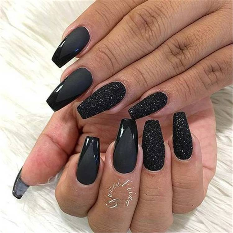 Stunning Black Nail Designs You Must Have This Summer; Black Nails; Summer Nails; Square Nail; Coffin Nail; Stiletto Nail; Cute Nails; Black Square Nail; Black Coffin Nail; Black Stiletto Nail; #nails #blacknails #blacksummernail #summernails #coffinnails #stilettonails #squarenails