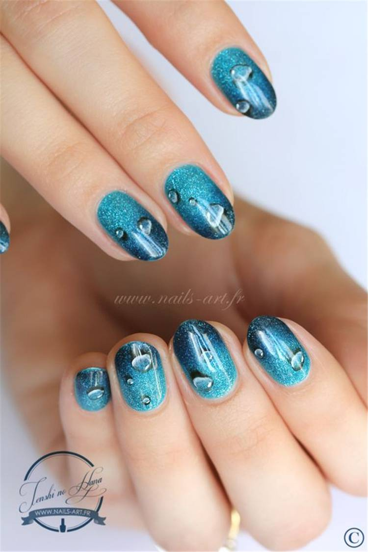 Swimming Pool Nail Designs To Rock This Summer; Summer Nails; Swimming Pool Nails; Swimming Nails; Nails; Nail Design; Aquarius Nails; Aqua Nails; #swimmingnails #nails #summernails #bluenails #oceannails #aquanails