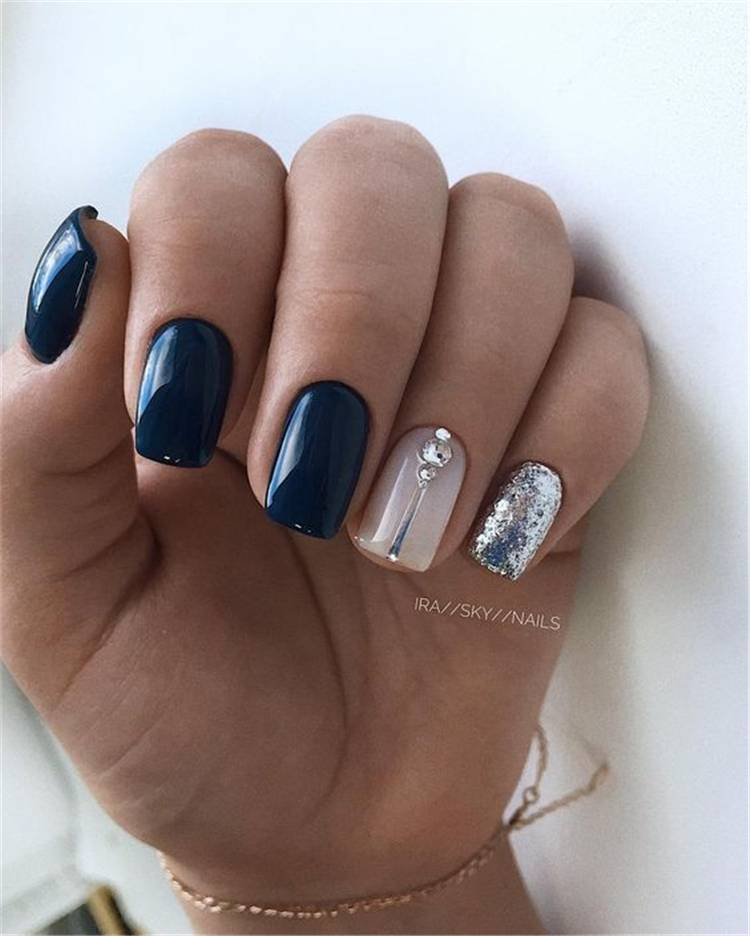 Elegant Dark Blue Nail Designs To Capture Your Heart; Black Nails; Summer Nails; Square Nail; Coffin Nail; Stiletto Nail; Cute Nails; Dark Blue Square Nail; Dark Blue Coffin Nail; Dark Blue Stiletto Nail; #nails #darkbluenails #darkbluesummernail #summernails #coffinnails #stilettonails #squarenails