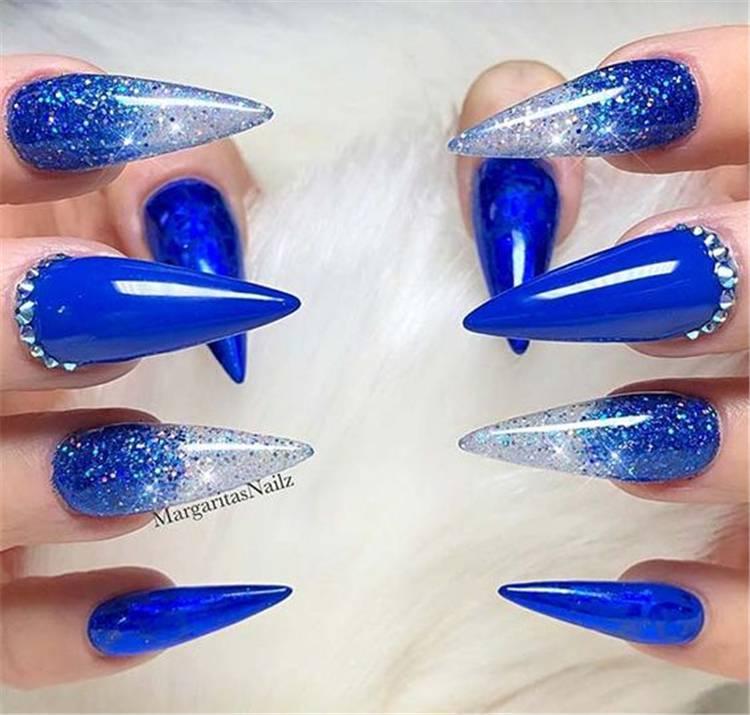 Elegant Dark Blue Nail Designs To Capture Your Heart; Black Nails; Summer Nails; Square Nail; Coffin Nail; Stiletto Nail; Cute Nails; Dark Blue Square Nail; Dark Blue Coffin Nail; Dark Blue Stiletto Nail; #nails #darkbluenails #darkbluesummernail #summernails #coffinnails #stilettonails #squarenails