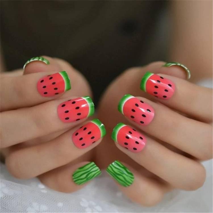 Cute And Fresh Watermelon Nail Designs You Should Try This Summer; Watermelon Nails; Summer Nails; Watermelon Nail Design; Fresh Watermelon Nails; Nails; Square Nails; Cute Nails; #watermelon #watermelonnails #watermelonnaildesign #squarenails #summernails