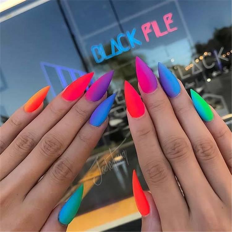 Gorgeous Rainbow Nail Designs To Rock This Summer;Summer Nails; Rainbow Nails; Pride Nails; Colorful Nails; Summer Rainbow Nails; Pride Rainbow Nails; #nails #naildesign #rainbownails #pridenails #summernails #summerpridenails #summerrainbownails
