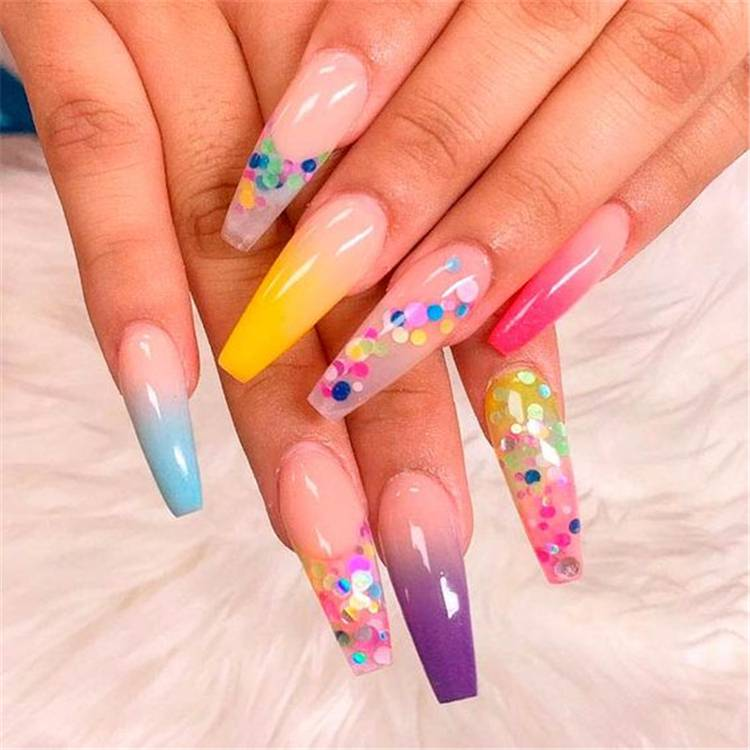 Gorgeous Rainbow Nail Designs To Rock This Summer;Summer Nails; Rainbow Nails; Pride Nails; Colorful Nails; Summer Rainbow Nails; Pride Rainbow Nails; #nails #naildesign #rainbownails #pridenails #summernails #summerpridenails #summerrainbownails