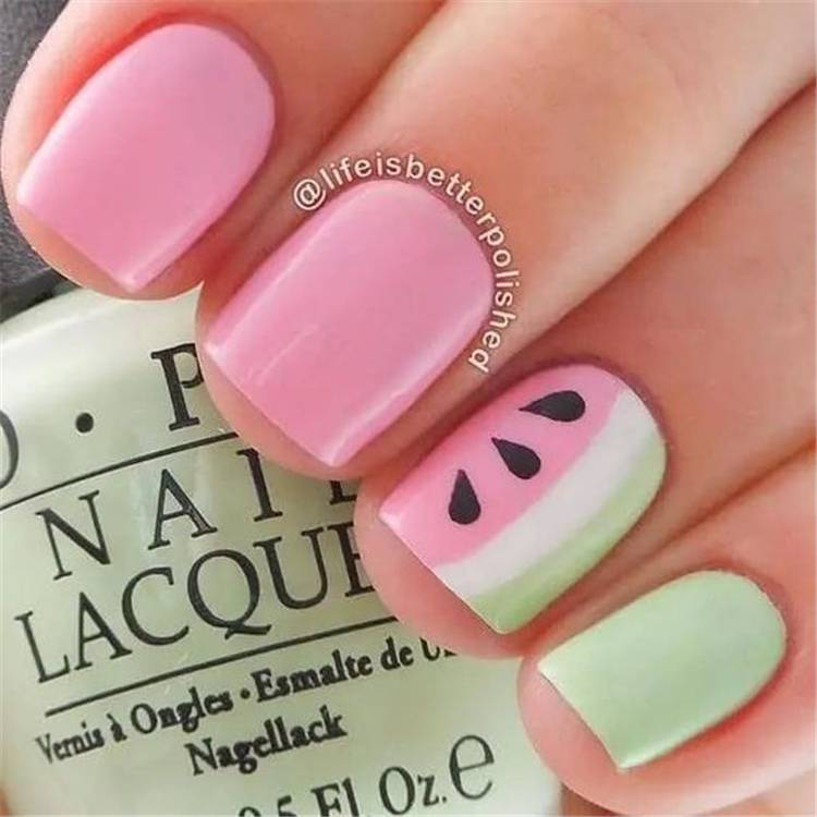 Cute And Fresh Watermelon Nail Designs You Should Try This Summer; Watermelon Nails; Summer Nails; Watermelon Nail Design; Fresh Watermelon Nails; Nails; Square Nails; Cute Nails; #watermelon #watermelonnails #watermelonnaildesign #squarenails #summernails