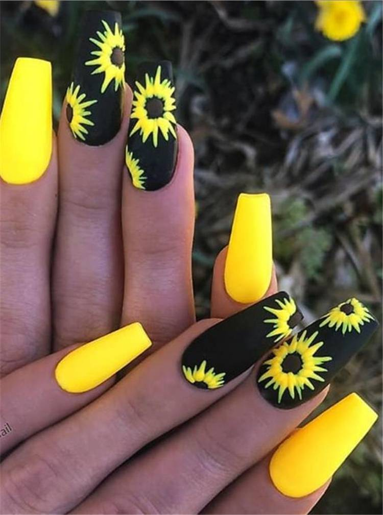 Gorgeous Floral Nail Designs You Must Fall In Love With; Floral Nails; Lovely Nails; Nails; Square Nails; Nail Design; Flower Nails; Rose Nails; Lily Nails; Sunflower Nails; Daisy Nails; Tulip Nails#nails#coffinnail#flowernails#squarenail#naildesign #floralnails #squarenails #lilynails #daisynails #sunflowernails #rosenails