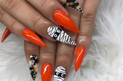 Amazing And Gorgeous Halloween Nail Designs You Need To Follow; Coffin Nail; Acrylic Coffin Nail; Nail; Nail Design; Halloween Nail; Halloween Nail Design; Halloween Scary Nail; Ghost Nail; Pumpkin Nail; Spider Nails #squarenail #shortsquarenail #nail #naildesign #halloweennail #scaryhalloweennail #ghostnail #pumpkinnails #skullnails
