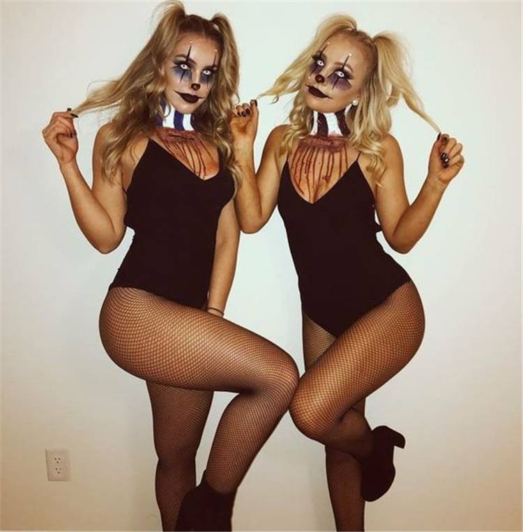 Amazing And Creative Halloween Costumes You Need To Save; Halloween Costumes; Halloween; Halloween Costumes Ideas; Clown Halloween Costumes; Ghost Halloween Costumes; Bunny Halloween Costumes; Dead Braid Halloween Costumes; #halloween #halloweencostumes #halloweendesign #clowncostumes #bunnycostumes #deadbraidcostumes