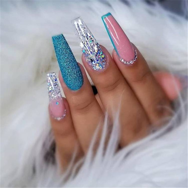 Amazing And Gorgeous Fall Acrylic Coffin Nail Designs You Must Love; Coffin Nail; Acrylic Coffin Nail; Nail; Nail Design; Fall Nail; Fall Nail Design; Autumn Nail; flower Nail; Glitter Nail; Rhinestones Nails; Marble Nails; #squarenail #shortsquarenail #nail #naildesign #fallnail #autumnnail #glitternail #rhinestonesnails #marblenails