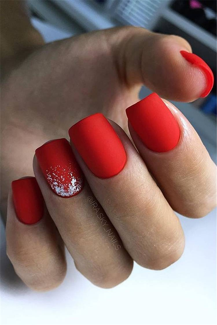 Stylish And Gorgeous Red Nail Designs You Must Love;Red Nail; Red Nail Design; Matte Red Nails; Floral Red Nails; Glitter Red Nails; Trendy Red Nails; Nails; Nail Design; #rednails #rednaildesign #glitterrednails #matterednails #nail #naildesign