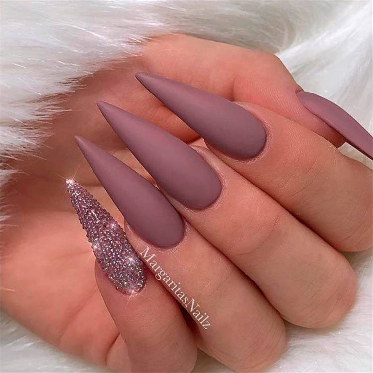 Stunning And Gorgeous Mauve Color Nail Designs For You; Nails; Nail Design; Mauve Nail Color; Nail Color; Mauve Coffin Nails; Mauve Square Nails; Mauve Oval Nails;#nails #naildesign #mauvenail #mauvenaildesign #mauvecolor #coffinnails #squarenails