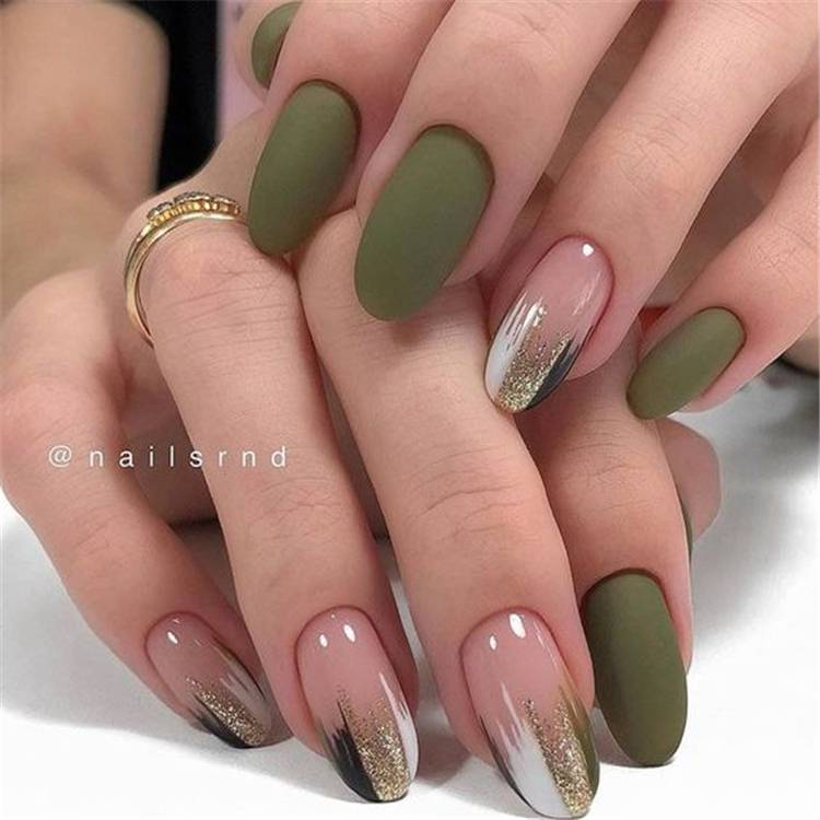 Stunning Olive Green Nail Designs You Must Copy Right Now; Nails; Nail Design; Olive Green Nail Color; Nail Color; Olive Green Coffin Nails; Olive Green Square Nails; Olive Green Oval Nails;#nails #naildesign #olivegreennail #olivegreennaildesign #olivegreencolor #coffinnails #squarenails