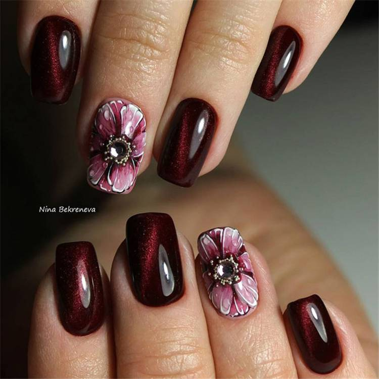 Hottest And Newest Burgundy Nail Designs You Must Know In 2020; Nails; Nail Design; Burgundy Nail Color; Nail Color; Burgundy Coffin Nails; Burgundy Square Nails; Burgundy Floral Nails;#nails#naildesign#burgundynail#burgundynaildesign#burgundycolor #coffinnails