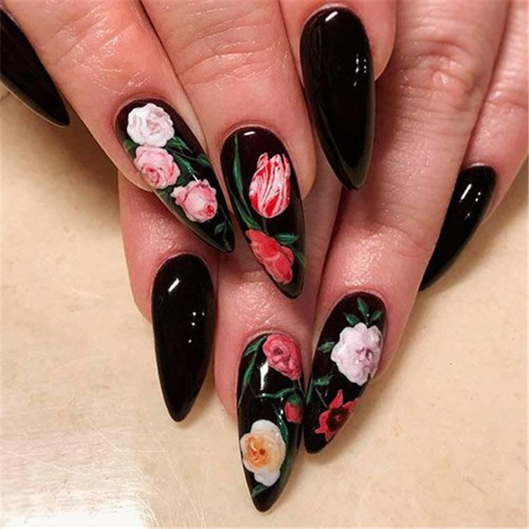 Amazing And Stunning Black Nail Designs You Need To Try; Black Nail; Black Nail Design; Matte Black Nails; Floral Black Nails; Glitter Black Nails; Trendy Black Nails; Nails; Nail Design; #blacknails #blacknaildesign #glitterblacknails #matteblacknails #nail #naildesign