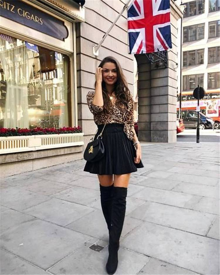Classic And Gorgeous Fall Outfits With Over-The-Knee Boots; Fall Outfits; Outfits; OTK Boots Outfits; Over-The-Knee Boots Outfits; Sweater; Leather Dress; Skirt #OTKbootsoutfits #falloutfits #boots #fallboots #overthekneeboots #girloutfits #fallbootsoutfits