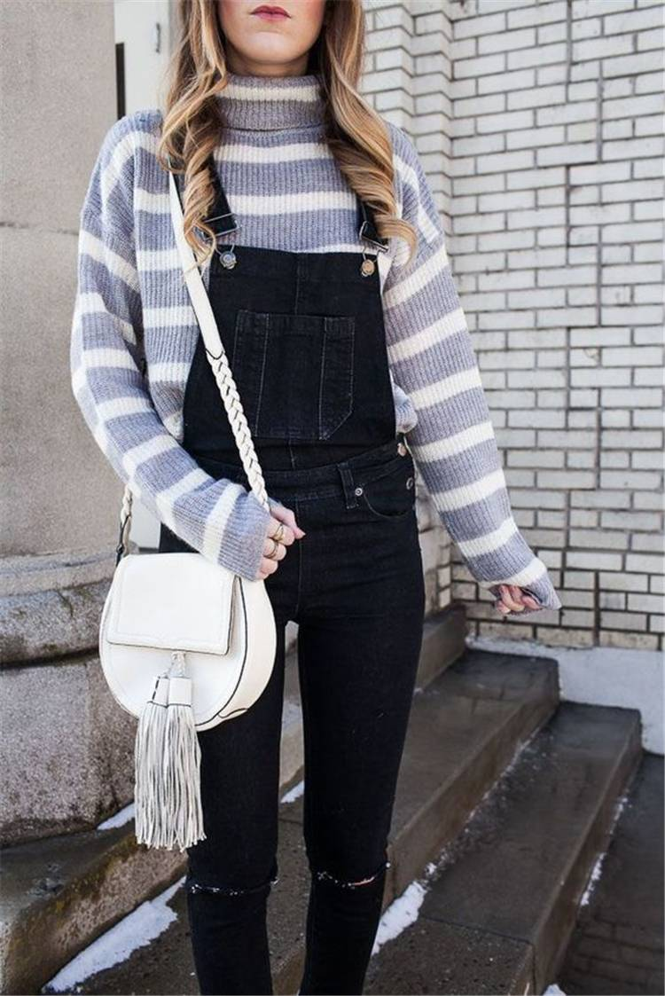 Trendy And Gorgeous Fall Outfits For Teen Girls; Fall Outfits; Outfits; School Outfits; Girl Outfits; Teen Girl Outfits; School Girl Outfits; Sweater; Leggings; Overalls; Demin Jacket #schooloutfits #falloutfits #backtoschooloutfits #girloutfits #fallschooloutfits #teengirl #teengirloutfits #deminjacket #overall