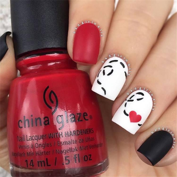 Short Valentine's Day Nail Designs You Should Copy Now; Valentine's Day nails; Red nail art designs; Romantic heart shape nails; acrylic nails;Heart Shape Nails; Square Nail; Short Square Nail #valentine #valentinenail #nails #naildesign #chicnails #squarenail #heartnail #valentinesday #shortsqaurenails
