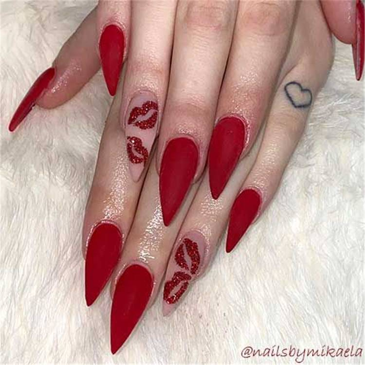 Cute Valentine's Nail Designs You Need To Copy Now; Valentine's Day nails; Square Valentines Nail; Coffin Valentines Nail; Stiletto Valentines Nail; Romantic heart shape nails; acrylic nails;Heart Shape Nails; #valentine #valentinenail #nails #naildesign #chicnails #squarevalentinesnail #coffinnail