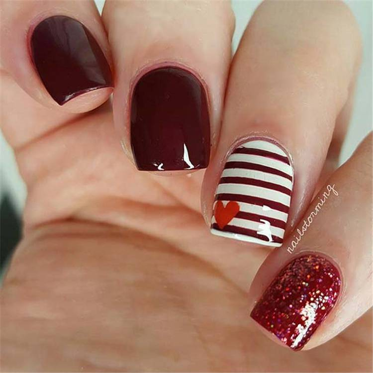Short Valentine's Day Nail Designs You Should Copy Now; Valentine's Day nails; Red nail art designs; Romantic heart shape nails; acrylic nails;Heart Shape Nails; Square Nail; Short Square Nail  #valentine #valentinenail #nails #naildesign #chicnails #squarenail #heartnail #valentinesday #shortsqaurenails