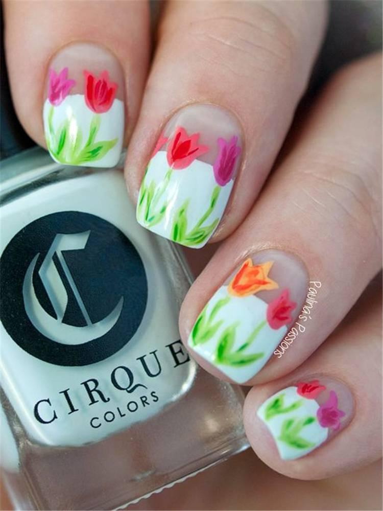 Pretty Spring Floral Nail Arts To Make You Blooming; Floral Nails; Lovely Nails; Nails; Square Nails; Nail Design; Flower Nails; Rose Nails; Daisy Nails; Rose Nails; Tulip Nails #nails #flowernails #squarenail #naildesign #floralnails #squarenails #tulipnails #daisynails #rosenails