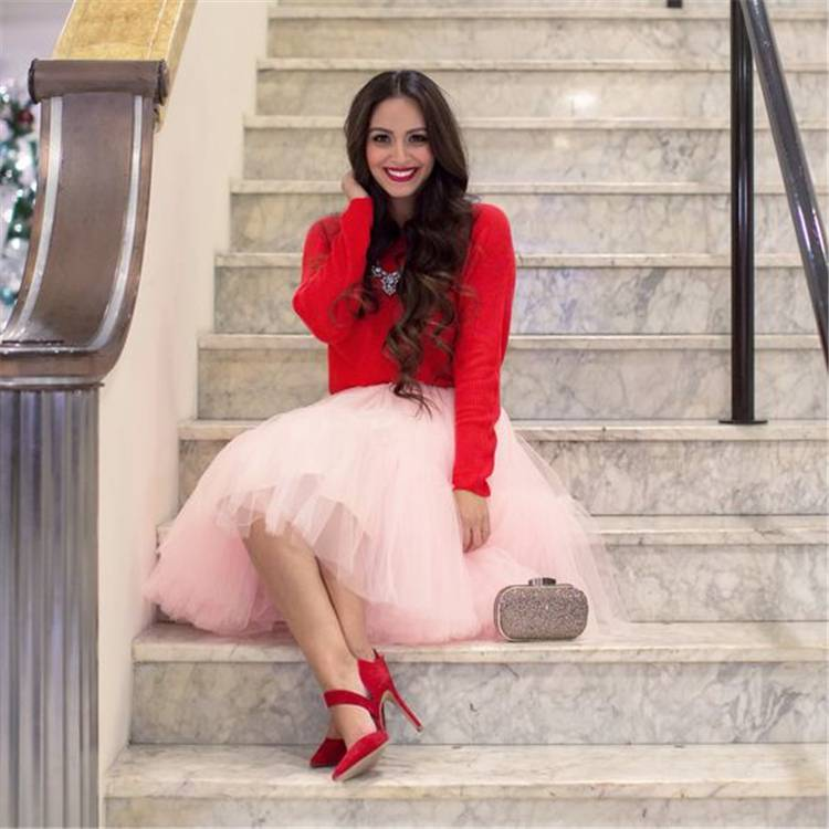 Gorgeous Valentine's Day Outfits For A Perfect Date;  Tulle Skirt; Tulle Dress;Red Bodycon Dress; Mini Bodycon Dress; Valentines Dress; Valentines Day; Sweater; Valentines; Valentines Sweater; Heart Shaped Sweater; #sweater #bodycondress #redbodycondress #redsweater #valentinesdress #valentine #valentinesday #valentinessweater #sweaters #heartshapedsweater #tulleskirt #tulledress