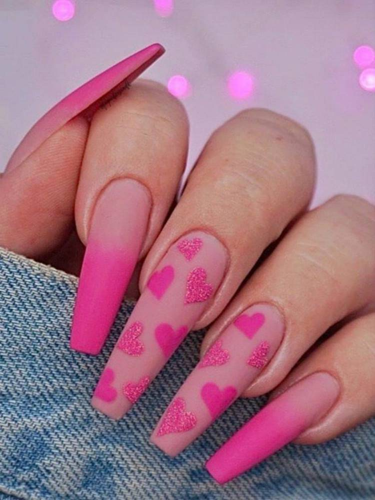 Lovely And Gorgeous Nail Designs For Your Valentine's Day; Valentine's Day nails; Square Valentines Nail; Coffin Valentines Nail; Stiletto Valentines Nail; Romantic heart shape nails; acrylic nails;Heart Shape Nails;#valentine#valentinenail#nails#naildesign#chicnails #squarevalentinesnail #coffinnail