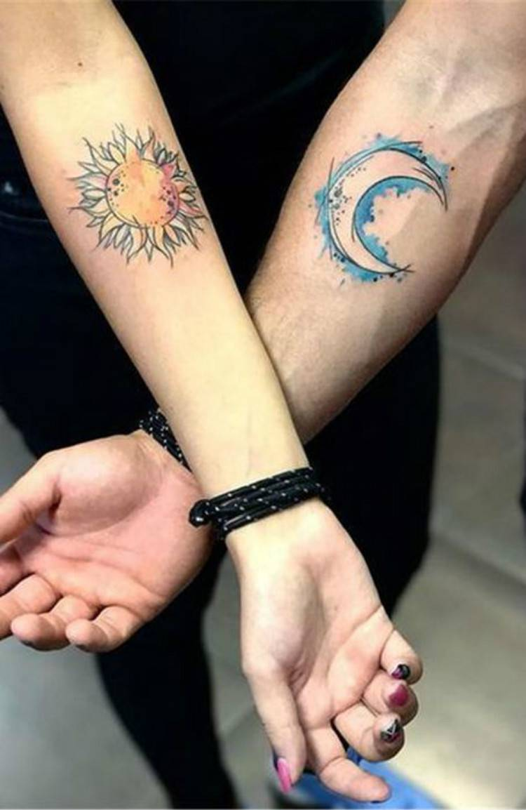 Couple Matching Tattoo Designs For The Coming Valentine's Day; Couple Tattoo Ideas; Couple Tattoos; Matching Couple Tattoos;Simple Couple Matching Tattoo;Tattoos; Valentine's Day; Valentine's Tattoo #valentine's #valentine'stattoo #Tattoos #Coupletattoo#Matchingtattoo