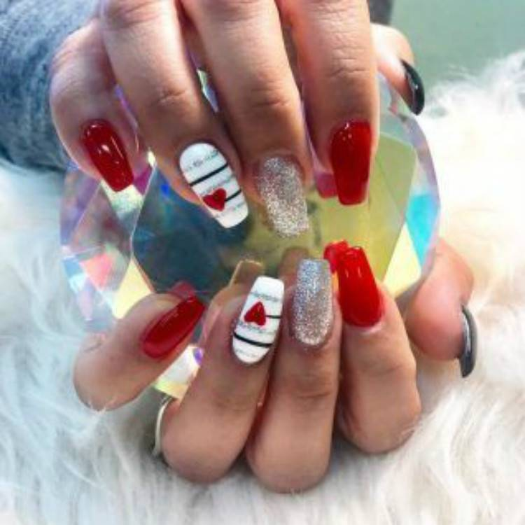 Lovely And Gorgeous Nail Designs For Your Valentine's Day; Valentine's Day nails; Square Valentines Nail; Coffin Valentines Nail; Stiletto Valentines Nail; Romantic heart shape nails; acrylic nails;Heart Shape Nails; #valentine #valentinenail #nails #naildesign #chicnails #squarevalentinesnail #coffinnail