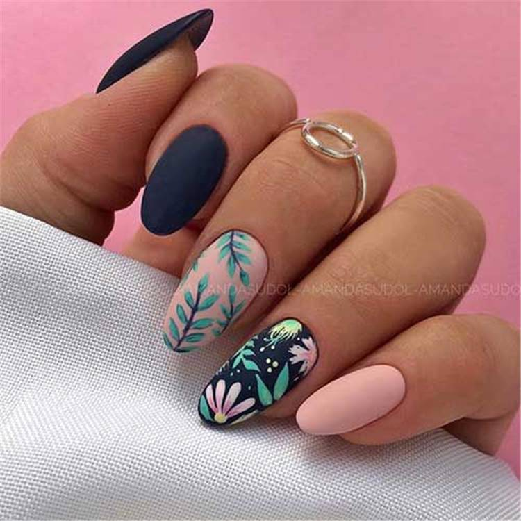 Pretty Spring Floral Nail Designs For You; Spring Nails; Lovely Nails; Nails; Square Nails; Nail Design; Flower Nails; Floral Nail; Coffin Floral Nail; Almond Floral Nail; Spring Nail; #nails #springnail #flowernails #squarenail #naildesign #coffinnail #almondnail #springnaildesign #floralnail