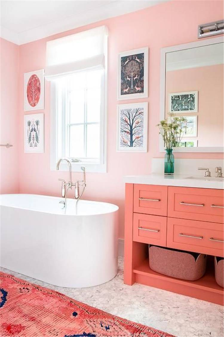 Amazing Spring Bathroom Decoration Ideas With Different Accents; Home Decor; Bathroom Decor; Bathroom; Spring Bathroom; Spring Home Decor; Flower Home Decor; Cozy Bedroom; Spring Accent; #homedecor #springhomedecor #bathroom #springbathroom #bathroomdecor #floralbathroom #springaccent #pinkbedroom #yellowbathroom #redaccentbathroom