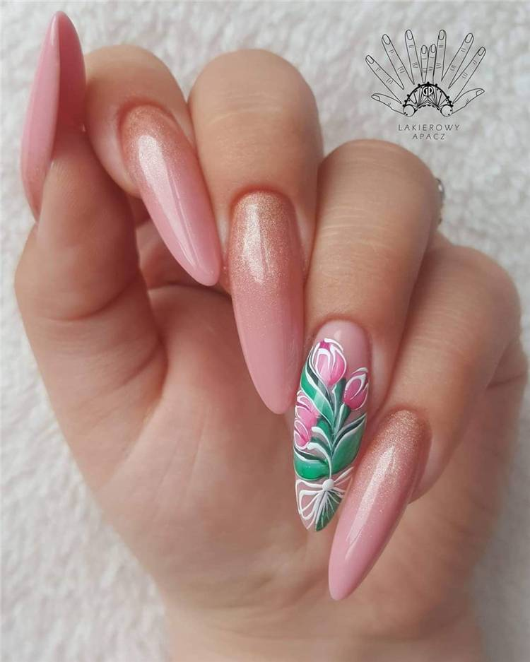 Glamorous Floral Nail Designs You Need To Copy This Spring; Floral Nails; Lovely Nails; Nails; Square Nails; Nail Design; Flower Nails; Cherry Blossom Nails; Magnolia Nails; Tulip Nails #nails #flowernails #squarenail #naildesign #floralnails #squarenails #tulipnails #magnolianails #cherryblossomnails