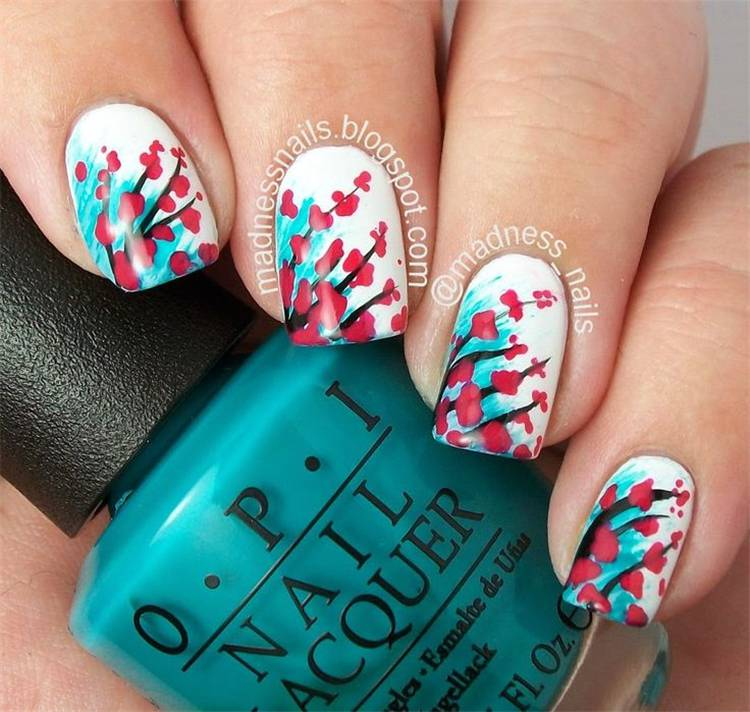 Glamorous Floral Nail Designs You Need To Copy This Spring; Floral Nails; Lovely Nails; Nails; Square Nails; Nail Design; Flower Nails; Cherry Blossom Nails; Magnolia Nails; Tulip Nails#nails#flowernails#squarenail#naildesign#floralnails#squarenails#tulipnails#magnolianails#cherryblossomnails