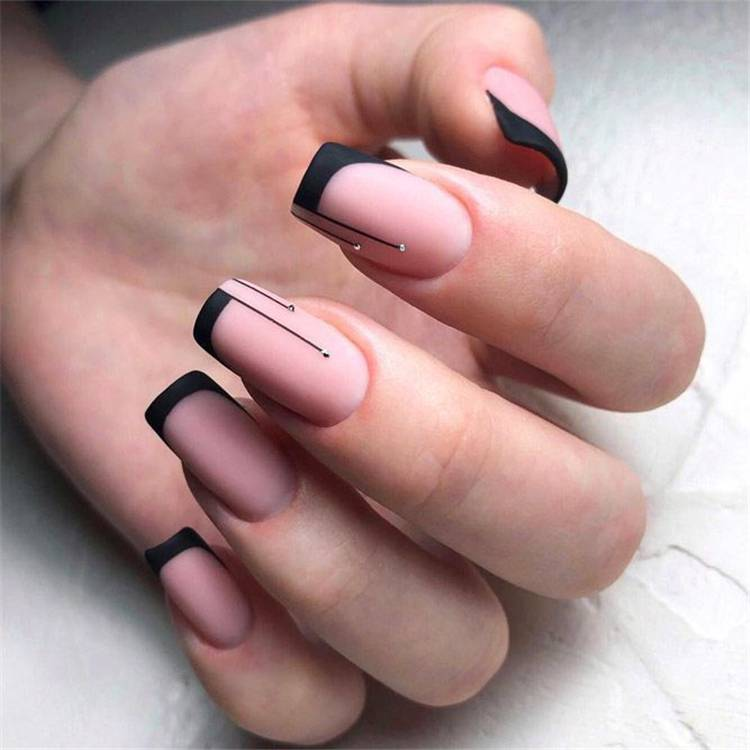 Gorgeous French Tip Nail Designs For Your Inspiration; French Nails; Simple Nails; Nail Designs; Square French Nail Designs; Coffin French Nail Designs; Stiletto French Nails; French Tip Nails; #nails #nail #frenchnail #simplenail #naildesign #squarefrenchnail #coffinfrenchnail #stilettofrenchnail #frenchtipnails