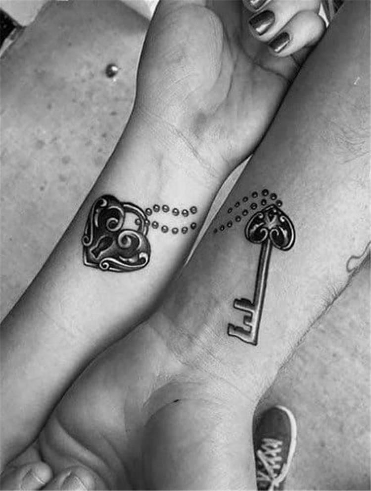 Coolest Couple Matching Tattoo Designs For Your Inspiration; Couple Tattoo Ideas; Couple Tattoos; Matching Couple Tattoos;Simple Couple Matching Tattoo;Tattoos; Valentine's Day; Valentine's Tattoo#valentine's#valentine'stattoo#Tattoos#Coupletattoo#Matchingtattoo#matchingkeyand locktattoo#matchingbeautyandbeasttattoo#matchingkingandqueentattoo#matchinglionandlionesstattoo