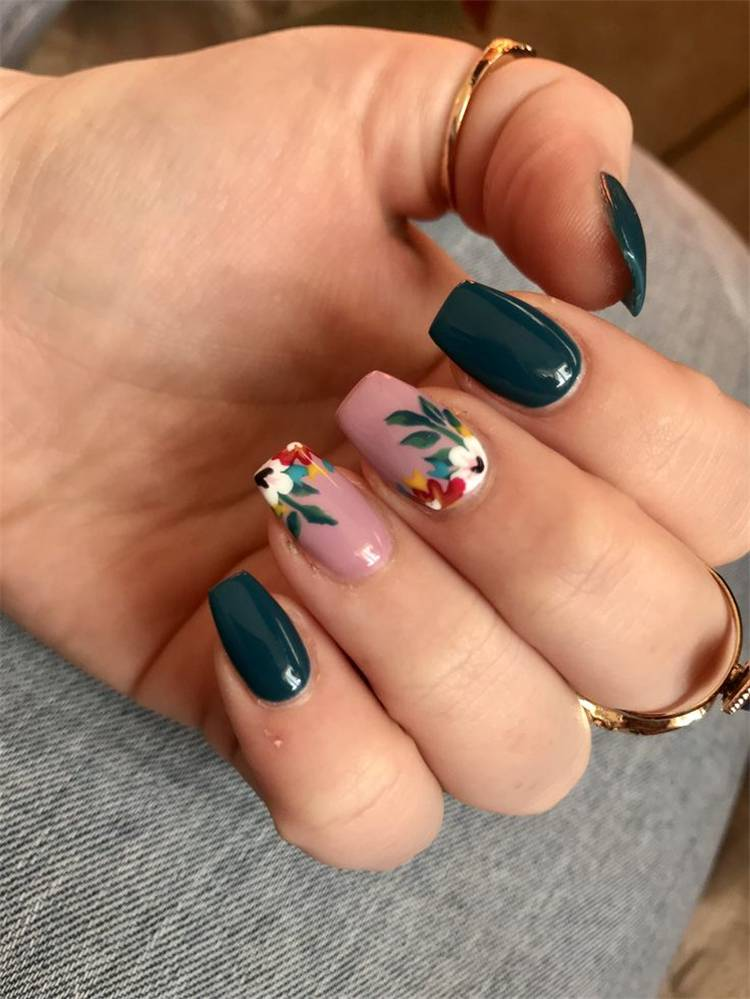 Gorgeous Spring Nail Designs With Different Accents; Floral Nails; Spring Nails; Nails; Square Nails; Nail Design; Red Accent Nails; Yellow Accent Nails; Green Accent Nails; #nails #flowernails #squarenail #naildesign #floralnails #squarenails #redaccentnails #greenaccentnails #yellowaccentnails