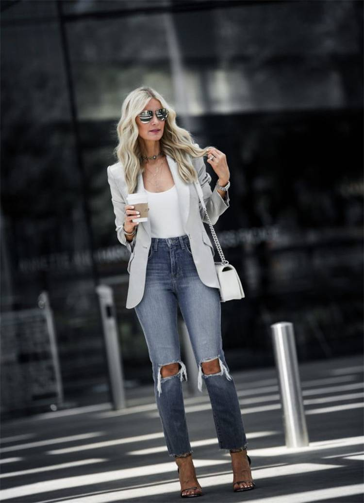Stunning Spring Outfits To Make You Beautiful All The Time; Spring Outfits; Outfits; Spring Striped Long Dress; Spring Ripped Jeans Outfits; Long Shirts Outfits; Spring Dress; Spring Demin Jacket Outfits; Cute Spring Outfits; Spring #springoutfits #outfits #springshirtoutfits #springdress #springrippedjeans #springlongdress #springstirpeddress
