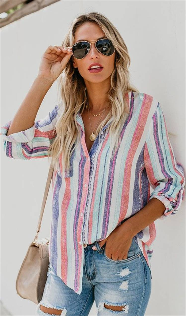 Gorgeous Spring Outfits You Need To Update Your Wardrobe; Spring Outfits; Outfits; Spring Striped Shirts; Spring Ripped Jeans Outfits; Long Dress Outfits; Spring Dress; Spring Dress Outfits; Cute Spring Outfits; Spring #springoutfits #outfits #springshirtoutfits #springdress #springrippedjeans #springlongdress #springstirpedshirt