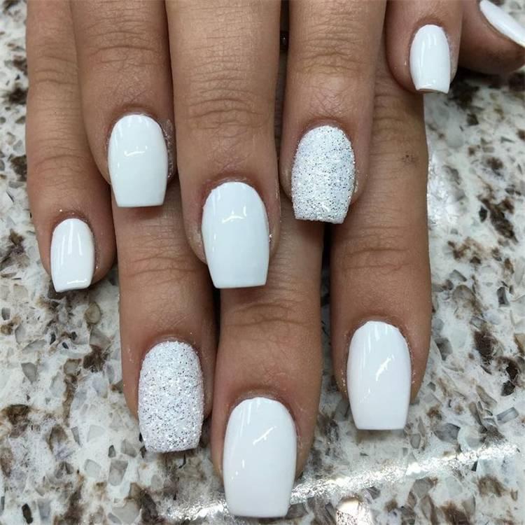 Elegant White Wedding Nails For Your Big Day; Wedding Nails; Wedding White Nails; White Nails; Nails; Elegant Nails; Square Nails; Coffin Nails; Almond Nails; White Wedding Nails; #nails #nailsart #weddingnails #weddingwhitenails #whitenails #elegantnails #squarenails #coffinnails #almondnails #whiteweddingnails