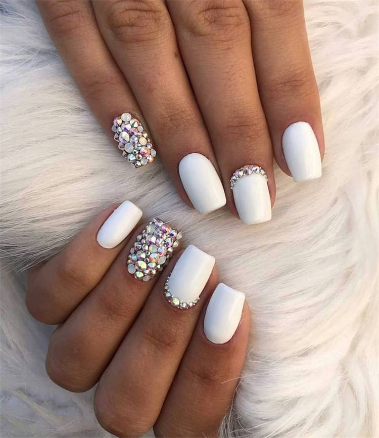 Elegant White Wedding Nails For Your Big Day; Wedding Nails; Wedding White Nails; White Nails; Nails; Elegant Nails; Square Nails; Coffin Nails; Almond Nails; White Wedding Nails; #nails #nailsart #weddingnails #weddingwhitenails #whitenails #elegantnails #squarenails #coffinnails #almondnails #whiteweddingnails