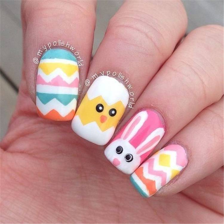 Easter Holiday Nail Designs You Should Copy Now; Easter nails; spring nails; cute nail art; Adorable Easter Nail; Nail Art Designs; Egg Art Nails; Bunny Art Nails; Egg And Bunny Nail Art Designs; #easter #easternails #eastereggnails #chickennails #bunnynails #polkadotnails #easter #easterholiday